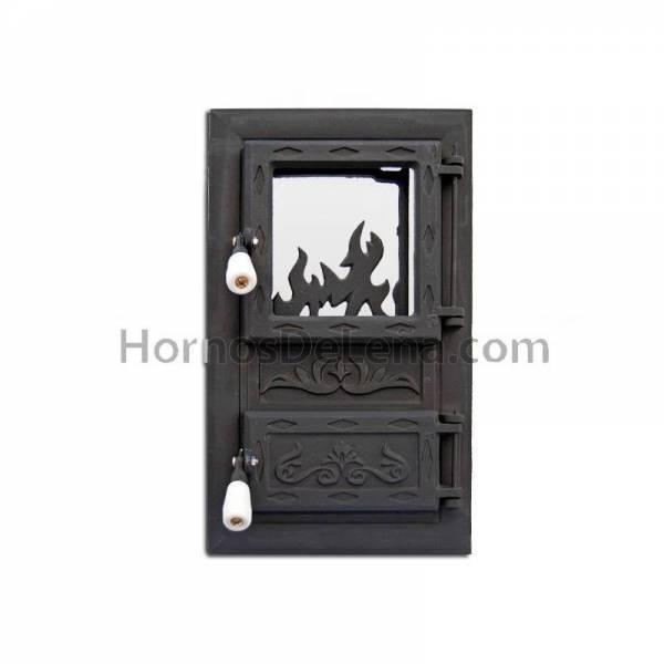 puerta horno de leña con portilla